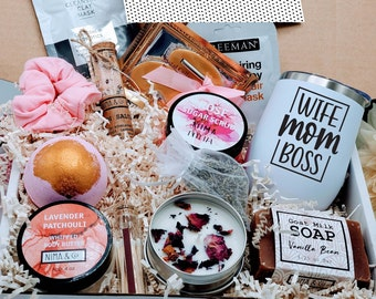 Birthday Gift Box for Her, Mothers Day Gift Box, Gift Box for Women, Gift Basket Friend, New Mom Gift Basket, Spa Kits Gifts Box -MDGB002-2