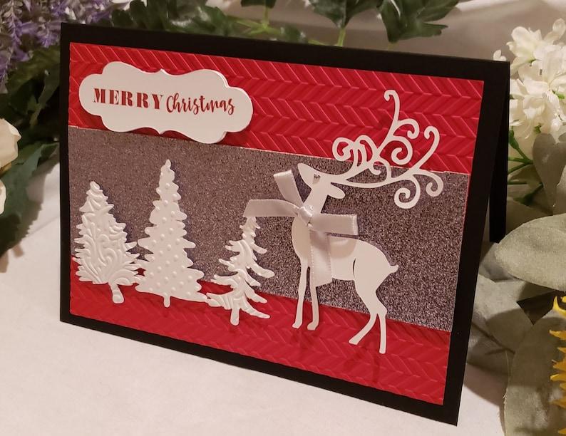 Christmas Card with Reindeer and Christmas Trees Handmade Set image 0