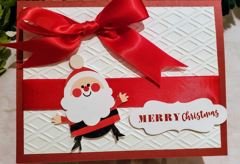 Christmas Handmade Jolie Santa Holiday Card image 0