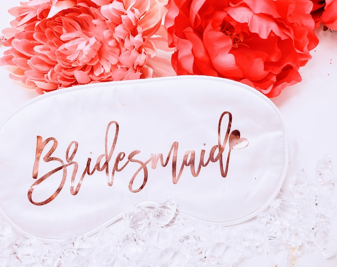 Personalized Sleep Masks, Bridesmaid Gifts, Bachelorette, Maid of Honor Proposal Gifts, Custom Silky Satin Mask, Bridal Gift - BMPG05