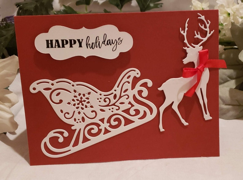 Reindeer and Sleigh Christmas Cards: Holiday Cards Boxes image 0