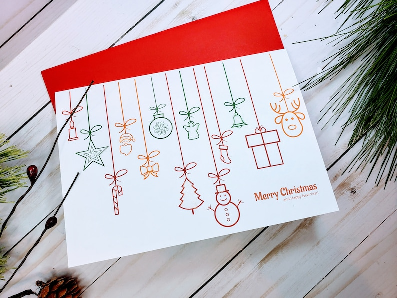 Ornaments Handmade Christmas Cards Set Modern Christmas image 0