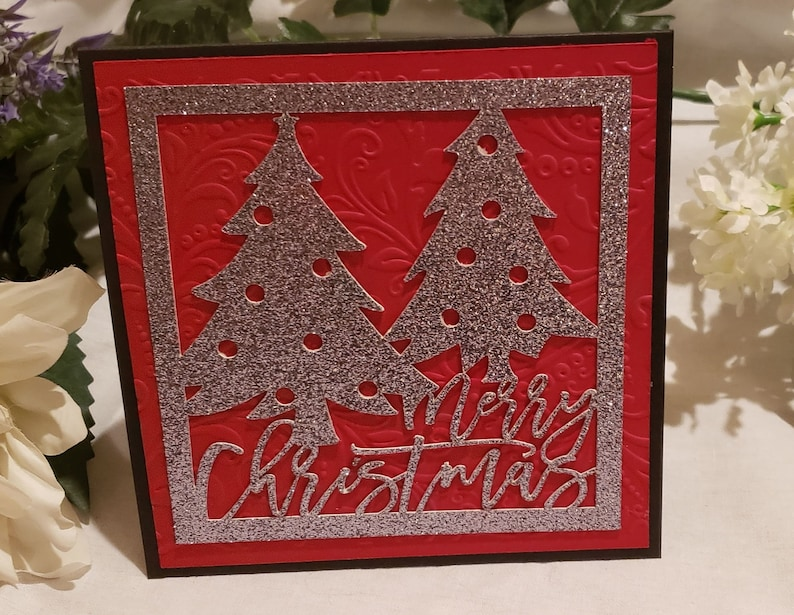 Handmade Red Christmas Card Happy Holiday Card Set Christmas 2 Silver Trees Red