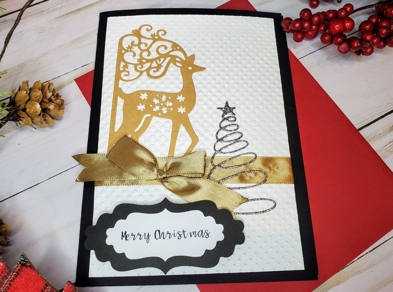 Reindeer Christmas Cards Handmade and Personalized Holiday image 0