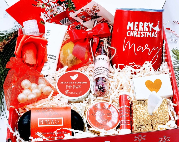 Christmas Gift Box for Women with Wine Tumbler, Personalized Spa Gift Set, Christmas Gift Basket, Christmas Gift Set for Women - CSGB021