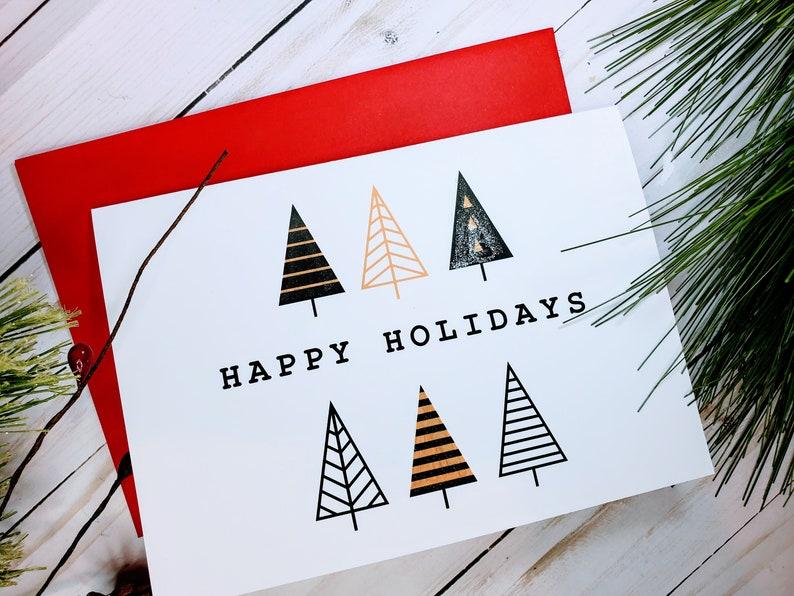 Christmas Trees Handmade Christmas Cards Set Modern Christmas image 0
