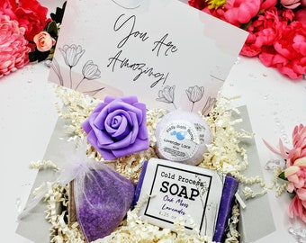 Thinking of You Gift Box,  Gift Box For Women, Relaxation Gift Box for Her, Spa Gift Basket, Self Care Gift, Lavender Bath Gift Set -TOYG001