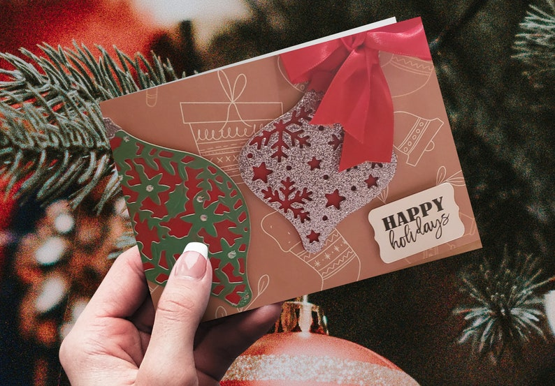 Christmas Ornaments Card Set Personalized Holiday Cards Set image 0