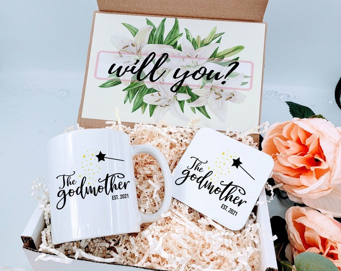 Will You Be? Godmother Proposal Box, Godmother Gift, Custom Coffee Mug, Best Friend Gift, Godmother Mug, Will You Be My Godmother - GMPB02