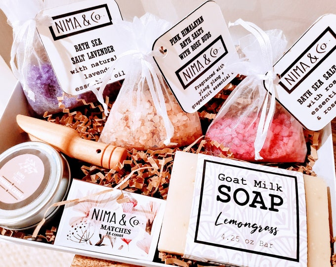 Bath Salts Spa Gift Box for Women, NIMA Gifts Co, Birthday Box for Her, Personalized Gift Spa Set for Women, Best Friend Gifts  - BSS01