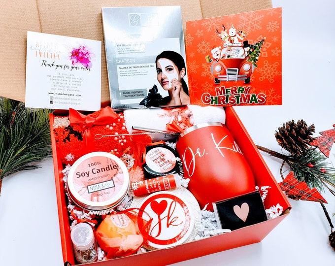 Christmas Gifts for Mom, Christmas Gift Box for Women, Personalized Spa Gift Set, Christmas Gift Basket, Christmas Gift Set for Women-CGSB06