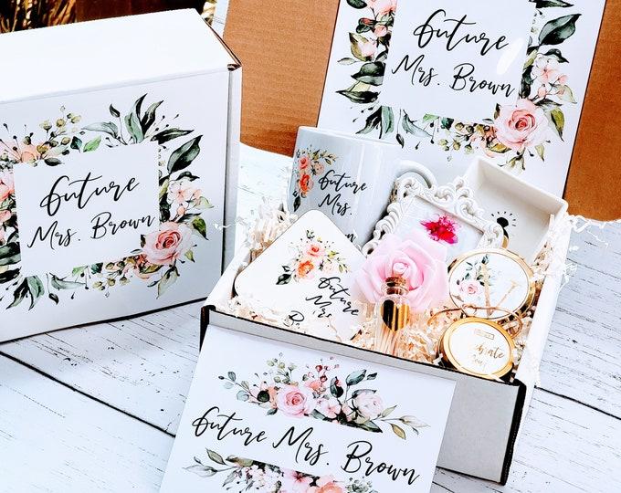 Personalized Bride Gift Box Set Engagement Gift, Bridal Shower Gift, Bride to be Gift, Bride Box, Future Mrs Bridal Gift Basket-BGB04