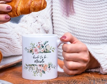 Bride To Be Gift, Personalized Coffee Mug, Personalized Name Coffee Cup, Initial Mug, Initial with Flowers Mug, Gift - BTBMB01