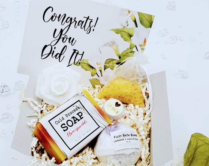 Congratulations Gift, Thank You Gift, Congrats You Did It Promotion Gift Box, Coworker Gift, New Job Gift, Relaxation Bath Gift Set-PGB21010
