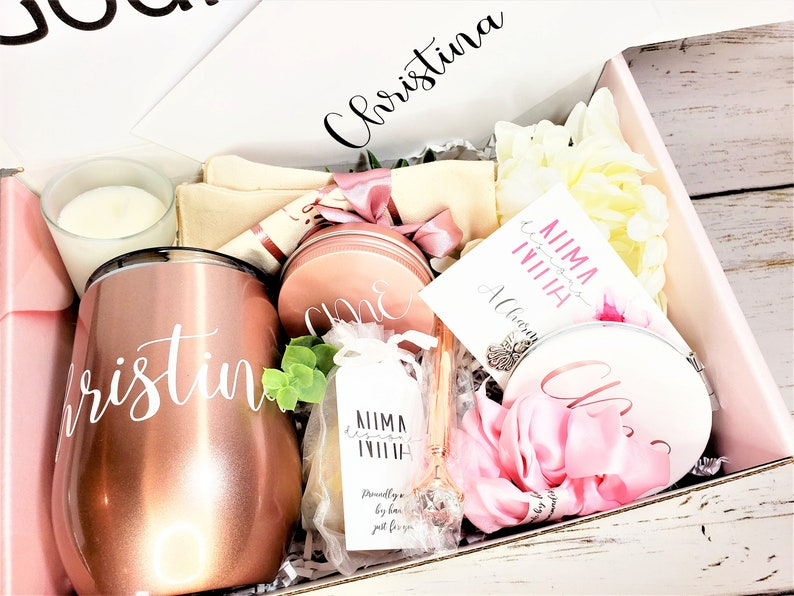 Godmother Proposal Box with Wine Tumbler and Custom Scratch image 0