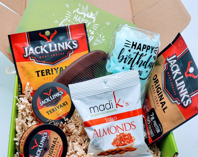 Birthday Gift Box for Men, Personalized Gift for Boyfriend, Birthday Gift Basket for Dad, Fathers Day Gift, Valentines Day - SMBB01