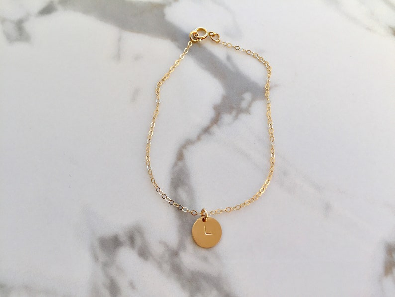 Gold Initial Bracelet Personalized Bridesmaid Gift Hand Stamped Gold Disc Bracelet Personalised Bracelet Custom made jewellery