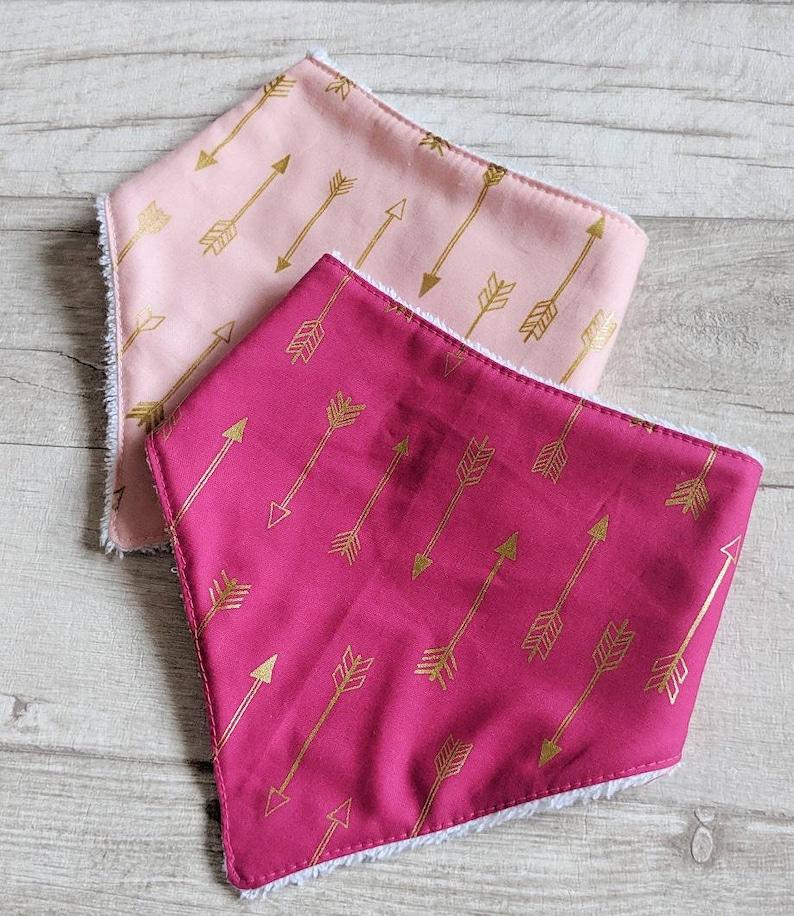 Pink Arrows Bandana Bib Set, Baby Bibs, Baby Shower Gift Set
