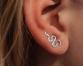 Silver snake climbers, silver serpent climber, dragon climbers, ear crawlers, Serpent piercing, Dainty ear sweep, Gift for her