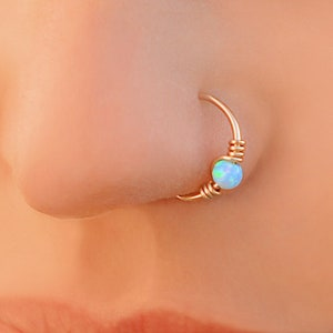 Rose Gold White Opal Nose Hoop Nose Ring 20G Rose Gold Nose Ring