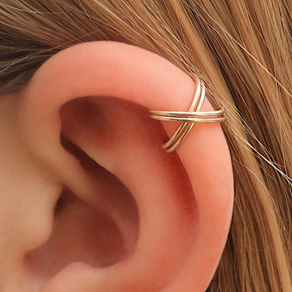 Cris Cross Ear Cuff, Double Gold Ear Cuff, Fake Piercing, 14 K Gold Filled, Cartilage Cuff, No Piercing, Conch Piercing Cuff by Etsy