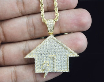 """aa536bae20f55a 14k Gold Finish Simulated Diamond Power Trap House Pendant With 24"""" Rope  Chain"""