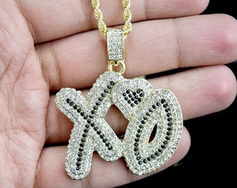 """a4308d87372def 14k Gold Finish Iced Out XO Heart Charm Pendant W/Stainless Steel 24"""" Rope  Chain"""