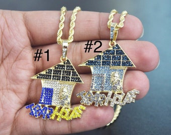 7b58da9d39e 14k Gold Finish Iced Out Trap House Charm Pendant With 24