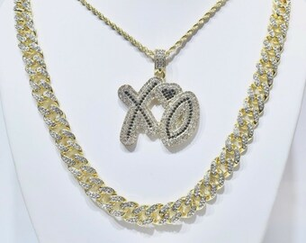 8a0a1b392a617c 14k Gold Finish Iced Out Hip Hop XO Charm Pendant With Rope And Cuban Chain