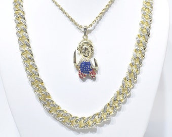 643e407f0 14k Gold Finish Iced Out Chucky With Knives Charm Pendant With Rope And  Cuban Chain