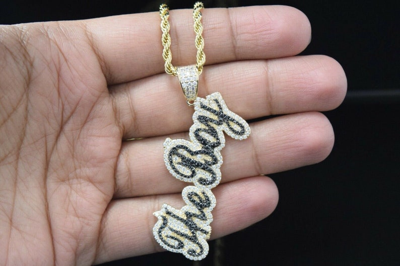 36d75fc7f16cb 14k Gold Finish Lab Diamond Custom The Boy Charm Pendant With 24