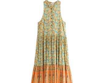 945fff5f78 Boho Chic Summer Vintage Floral Print Pleated Maxi Dress    Women Fashion  Buttons V Neck Beach Dresses    Casual Femme Vestidos