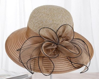 aace8750449 Summer Ladies Hat    Leisure Beach Women Sun Hat    Elegant Wide Brim Hat     Silk Flower Bucket Hat    Casual Cap Female Fedora. FireDesignStore   21.99