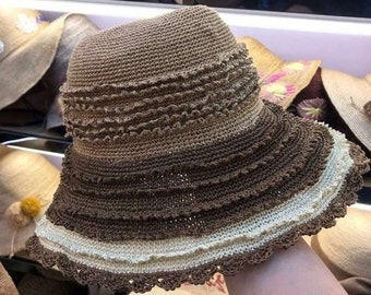 0c47473627637 new design summer handmade Fancy knitting straw paper lady holiday bucket  cap    women leisure beach hat