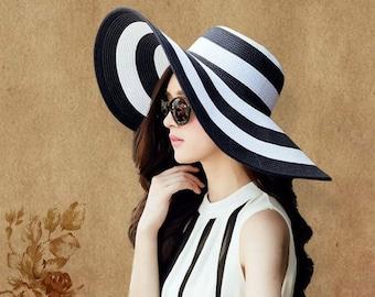 87e2c2c07293e8 Summer Sun Hat For Women // Straw Wide Brim Stripe Printed Caps // Lady  Girls Beach Vintage Floppy Cap UV Protection New