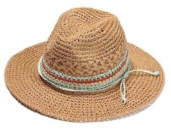 2b73ce77123d9 Handmade Knitted Patchwork Straw Hat For Women    Summer Hats Elegant  Ladies Wide Brim    Floppy Foldable Beach Sun Hat Caps
