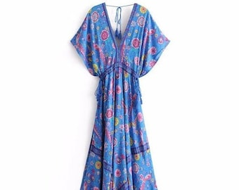 7764f177ac Boho Chic Summer Vintage Floral Print Pleated Long Dress // Women Fashion  Deep V Neck Tassel Beach Dresses // Vestidos Mujer