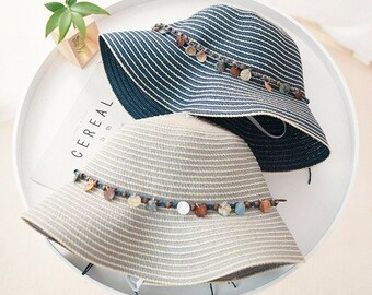 4464ebf2 Newest women straw hats // fashion breathable cotton linen sun hats //  casual female stone chain decoration beach hat