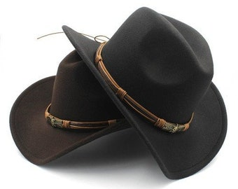 d13a910b66afc Fashion Women s Men s Wool Hollow    Western Cowboy Hat With Sun God Belt     Cowgirl Jazz Toca    Sombrero Godfather Cap Size 56-58CM