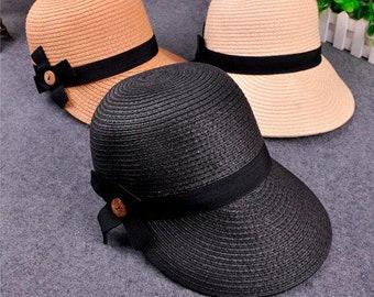 861ddf71 New Equestrian Kentucky Derby Hats Visor // Sobrero Sun Hats for Women // Straw  Hat With Bow // Summer Hat For Women Beach Cap