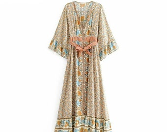 3e851572ac Vintage chic women Floral print single breasted beach Bohemian Maxi dress  // Ladies V neck sashes Summer Boho dress