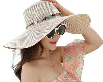 96b24be1e95 women big brim sun hats    foldable colorful stone hand made straw hat     female summer hat casual shade cap    beach hat