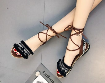 56827f229 Designer Gladiator Sandals    Women 2019 Summer Flat Shoes    Casual  Bohemia Ladies Sandals    Back Strap Tassel Shoes