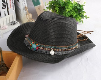 9cee0241195ce Ethnic Handmade Knitted Straw Hat    Women Men Summer Hats    Western  Cowboy Hat    Jazz Church Cap    Sombrero Cap Sun hats