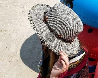 3582220bd50a9d Fashion New Women Hemp Rope Bow knot Design Summer Beach Sun Hats //  Anti-UV Sun Protection Bucket Hat // Cap For Girl Sun hat