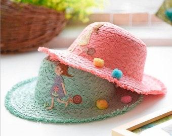 627c51d7cd7412 New Fashion Spring Summer Cute Cartoon Children Straw Hat // Baby Girls Travel  Beach Hats // Foldable Kids Sun Hat