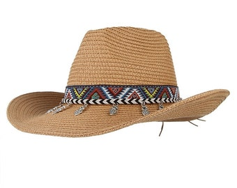 584d782975f Ethnic Western Cowboy Hat    With Alloy Tassel Embroidery Belt    Large  Brim Sun Hat Beach    Summer Straw Hats For Women And Men