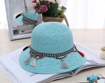006ff05d59038 Fashion 100% Handwork Child Summer Straw Sun Hat    Girl Boy Boho Beach  Pendant Hat    Sun hat Trilby Girl Hat Blue Pink Cap