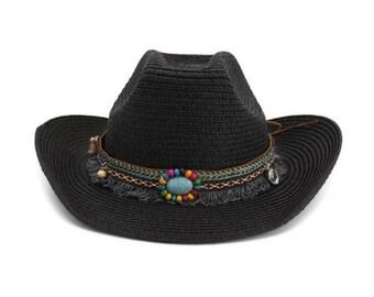 aeef706a3178d Hat Cowboy For Women Men    Khaki Ethnic Style Summer Beach Straw Sun Hats     Straw Hat Female Male Cowboy Hat