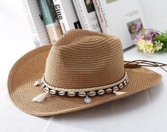 8584534a42bfaa Shell Tassels Cowgirl Summer Hat // Straw Hat for Women // Men Western Cowboy  Hat // Lady Trendy Woven Sun Hat // Beach Cap